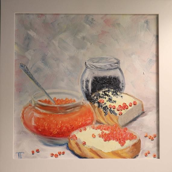 Items similar to Caviar Oil painting on wooden panel on Etsy